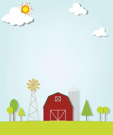 landscape with red farm windmill and silos Stock Vector - 17843265