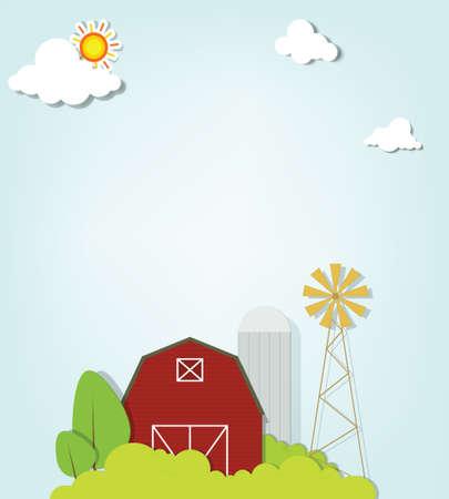 old barn: Paesaggio con mulino a vento rossa fattoria e silos Vettoriali