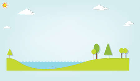 landscape with a lake and trees Stock Vector - 17843260