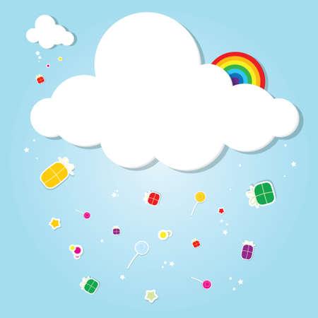 grappig cloud. regen van geschenken