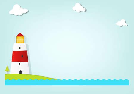 maritimo: faro en el mar Vectores