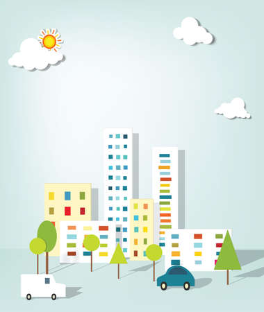 nubes caricatura: paisaje urbano. vector apliques.