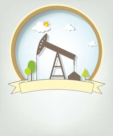 emblem with oil pump Stock Vector - 17843267