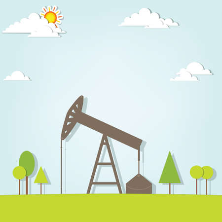 landscape with oil pump Illustration