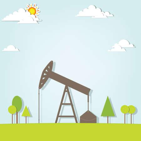 landscape with oil pump Illustration