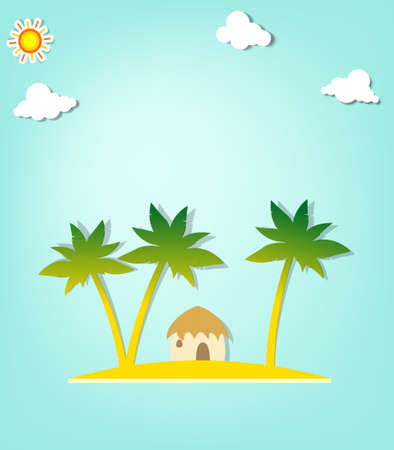 panoramic beach: Island with palm trees and hut