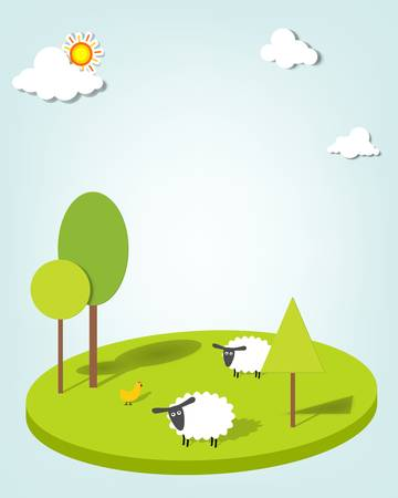 bleating: sheeps on the field Illustration