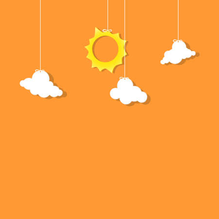 sun and clouds hanging on threads Illustration
