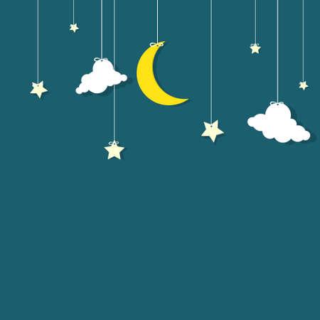 himmelsblå: natthimlen månen, stjärnorna och molnen hänger på trådar Illustration