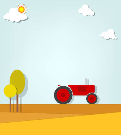 tractor in a field Stock Vector - 18819498