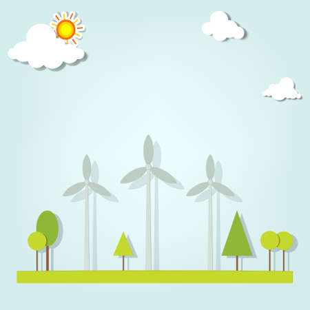 landscape with windmills Stock Vector - 18816693