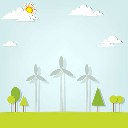 landscape with wind turbines Stock Vector - 18816692