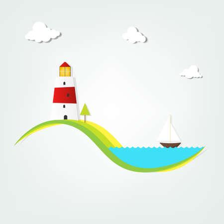 vuurtoren aan de zee Stock Illustratie