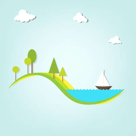 landscape with a lake, trees Illustration