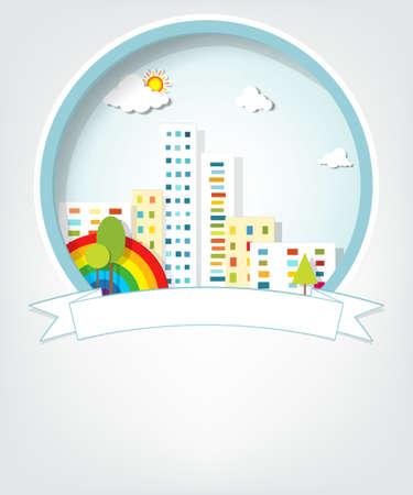 embleem met stedelijk landschap Stock Illustratie