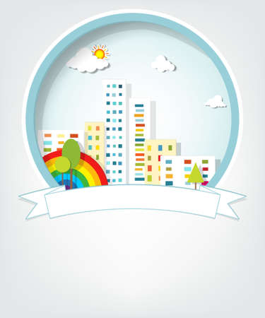 emblem with urban landscape Stock Vector - 18963190