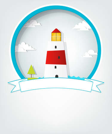 Lighthouse: emblem with lighthouse Illustration