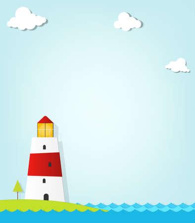 hoog gras: vuurtoren op de kust