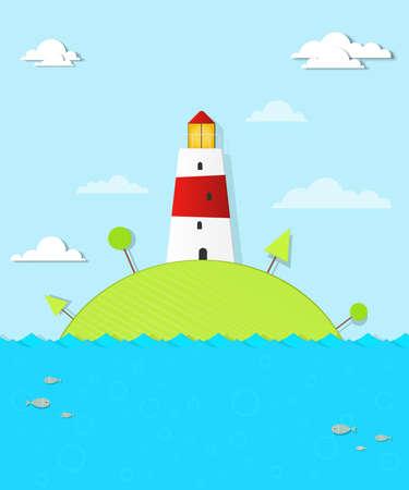 island cartoon: Lighthouse on the island