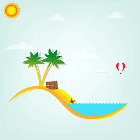 starfish beach: beach with palm trees Illustration