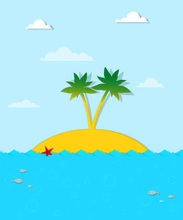 Island with palm trees on the sea Stock Vector - 18963173