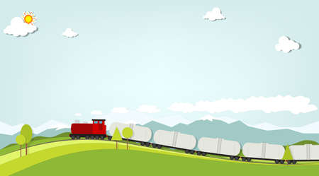 sun track: train on a background of mountains