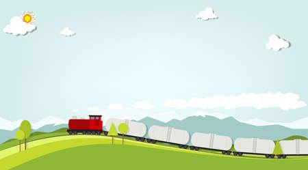 tren caricatura: tren sobre un fondo de montañas Vectores