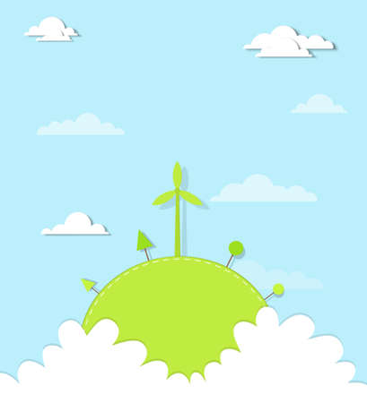 windmill on a hill in the clouds Vector