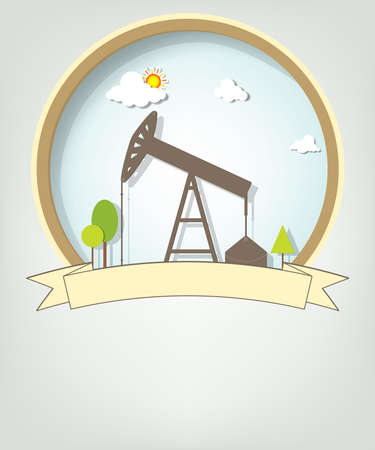 oil exploration: emblem with oil pump