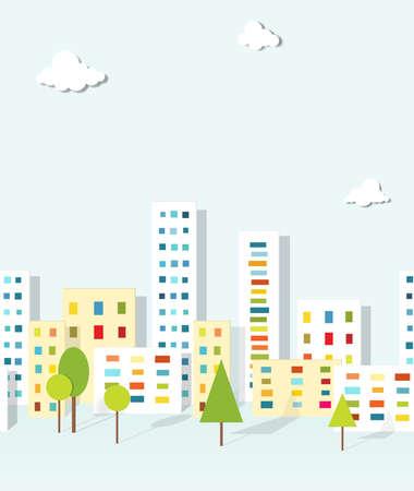 urban landscape  seamless pattern Illustration