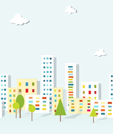 urban landscape  seamless pattern Çizim