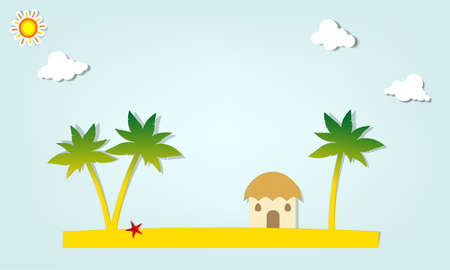 tropical beach panoramic: Island with palm trees and hut