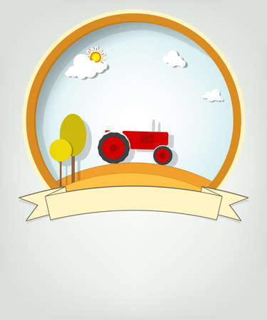 emblem with tractor Stock Vector - 19277966