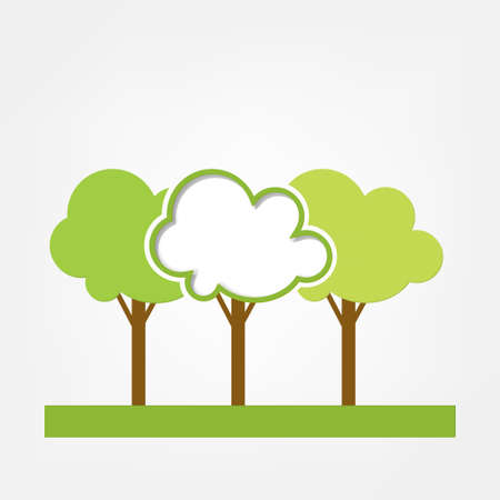 illustration frame  three green trees on the field Vector