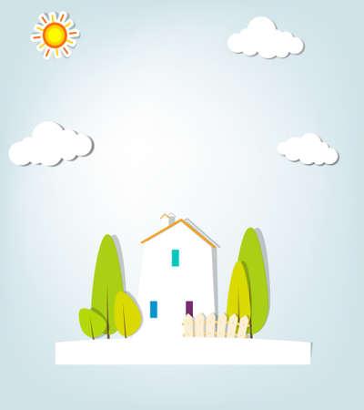 nubes caricatura: paisaje urbano Ilustración apliques