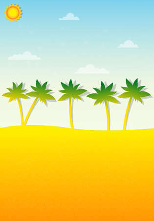 tropical landscape with palm trees Vector