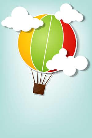 nubes caricatura: globo de aire caliente en el cielo