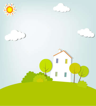 simple house: landscape with a house on the hill