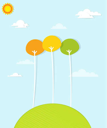 colorful trees on a green hill Illustration
