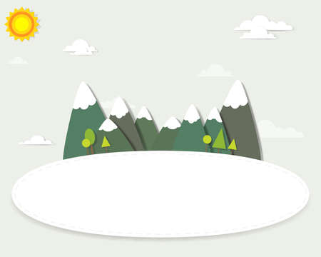 Mountain landscape around the banner