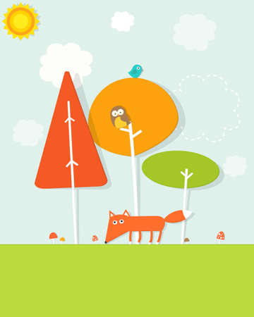 animals in the forest Stock Vector - 20333047