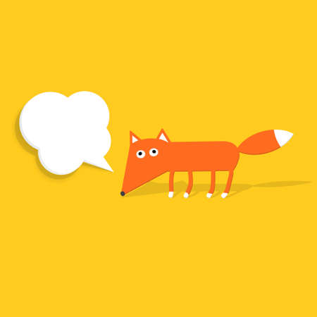 Paper fox with a speech bubble Illustration