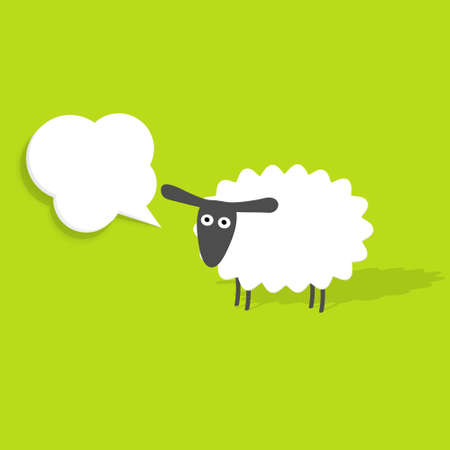cartoon sheep: sheep with speech bubble