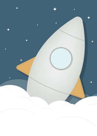 cartoon rocket ship in space Vector