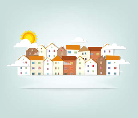panorama town  vector banner  イラスト・ベクター素材