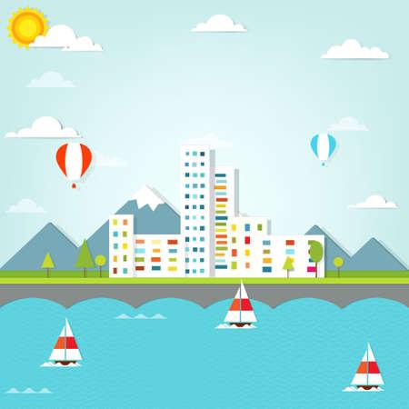 cartoon clouds: pintoresca ciudad Vectores