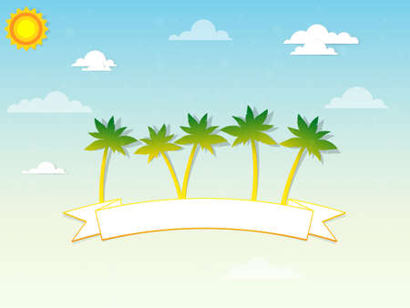 palm trees and a ribbon in the clouds Vector