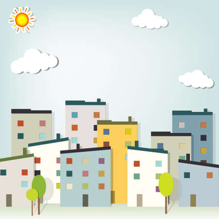 papercraft: panorama town. creative vector applique Illustration