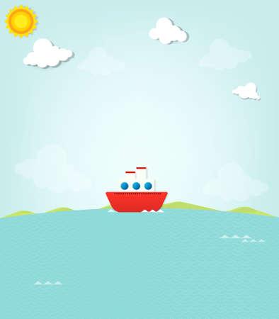 ship at sea Stock Vector - 22439654