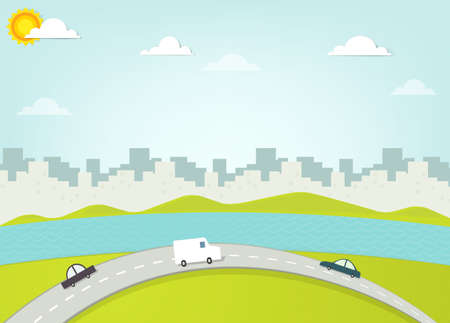 clouds scape: road on background silhouette of the city Illustration